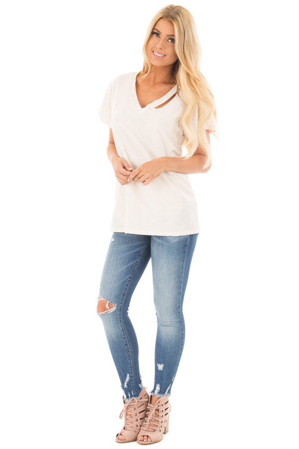 Cream Distressed V Neck Tee with Cut Out Detail front full body