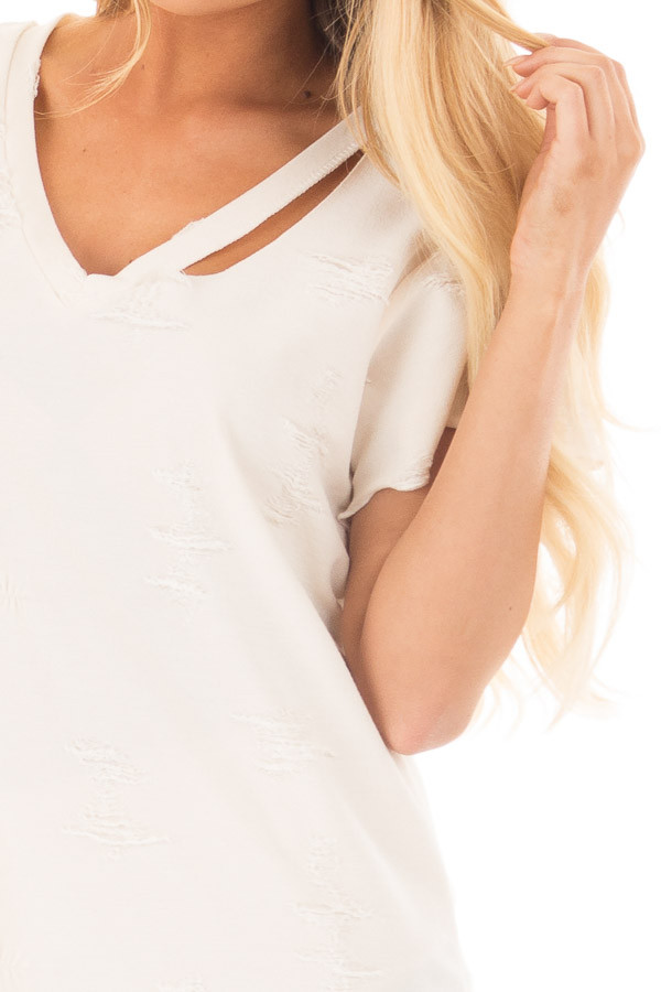 Cream Distressed V Neck Tee with Cut Out Detail detail