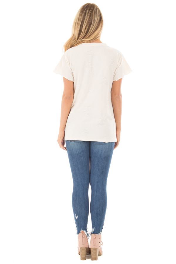 Cream Distressed V Neck Tee with Cut Out Detail back full body