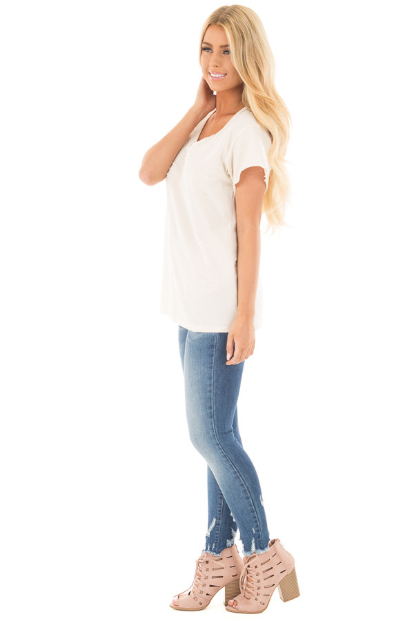 Cream Distressed V Neck Tee with Cut Out Detail side full body