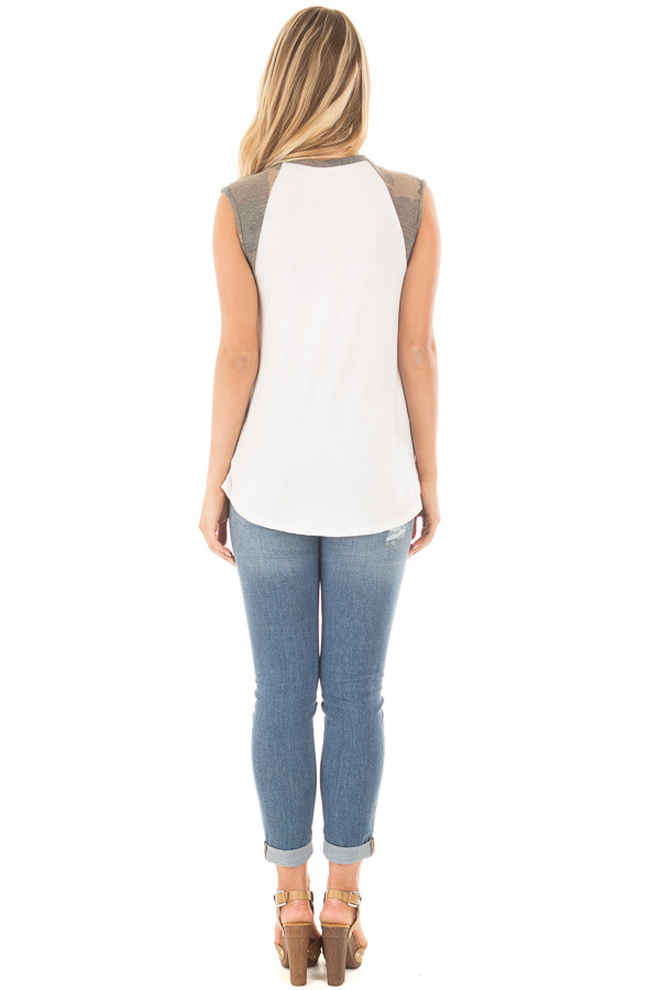 Ivory Sleeveless Top with Camo Contrast back full body