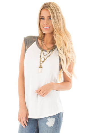 Ivory Sleeveless Top with Camo Contrast front close up