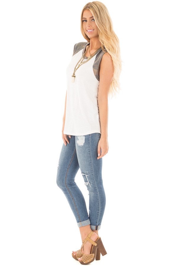 Ivory Sleeveless Top with Camo Contrast side full body