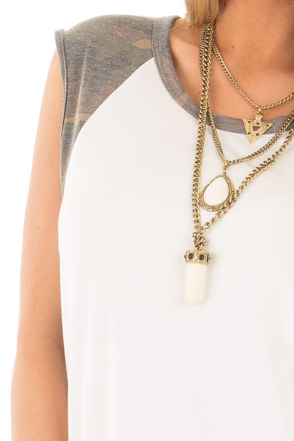 Ivory Sleeveless Top with Camo Contrast detail