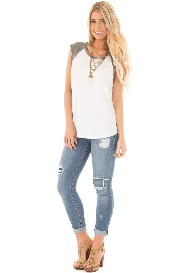 Ivory Sleeveless Top with Camo Contrast front full body