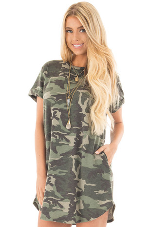 Olive Camo Tee Shirt Dress with Side Pockets front close up