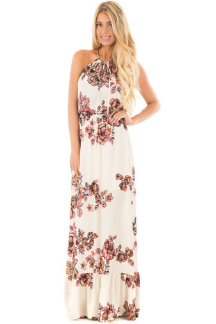 Ivory Floral Maxi Dress with Halter Key Hole Detail front full body