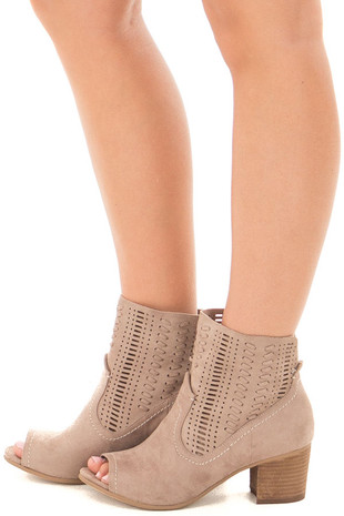 Taupe Faux Suede Heeled Bootie with Cut Out Design side view