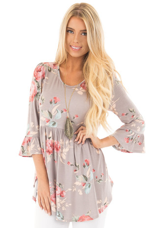 Mocha Babydoll Floral with 3/4 Bell Sleeves Top front close up