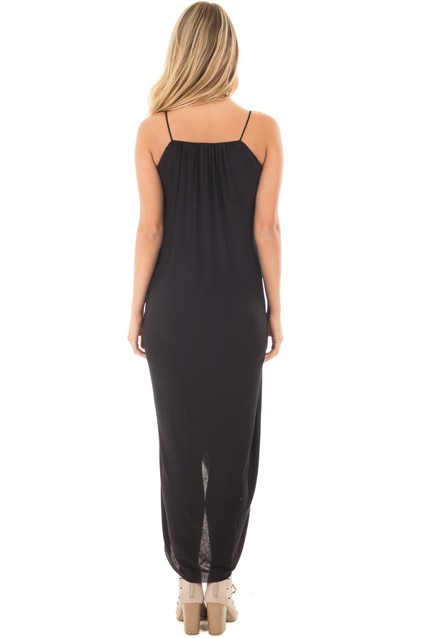 Black Wrap High Low Midi Dress back full body