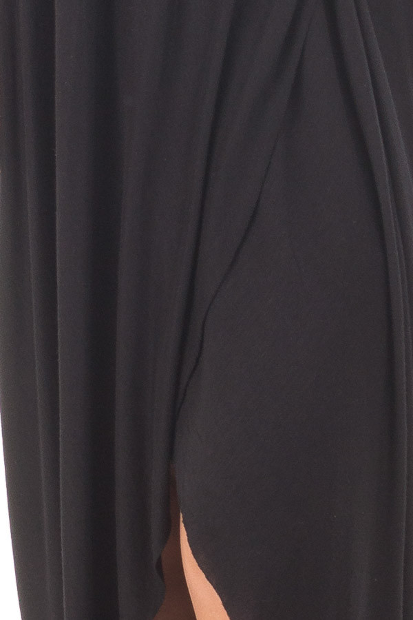 Black Wrap High Low Midi Dress detail