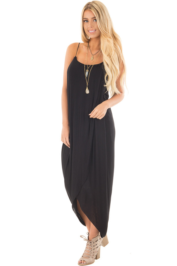 Black Wrap High Low Midi Dress front full body