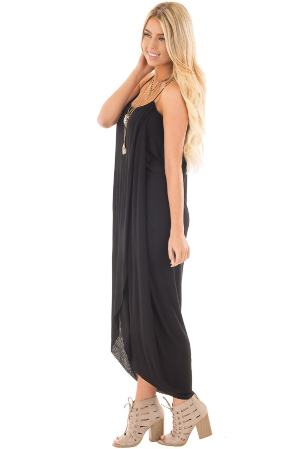 Black Wrap High Low Midi Dress side full body
