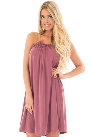 Mauve Sleeveless Loose Fit Mini Dress front close up