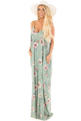 Sage Floral Print Loose Fit Maxi Dress with Side Pockets front close up