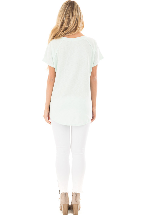 Mint Off Shoulder Top with Contrast Paneling Detail Top back full body