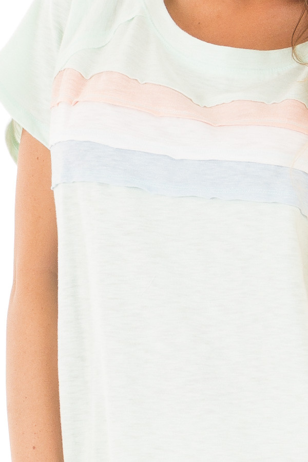 Mint Off Shoulder Top with Contrast Paneling Detail Top detail
