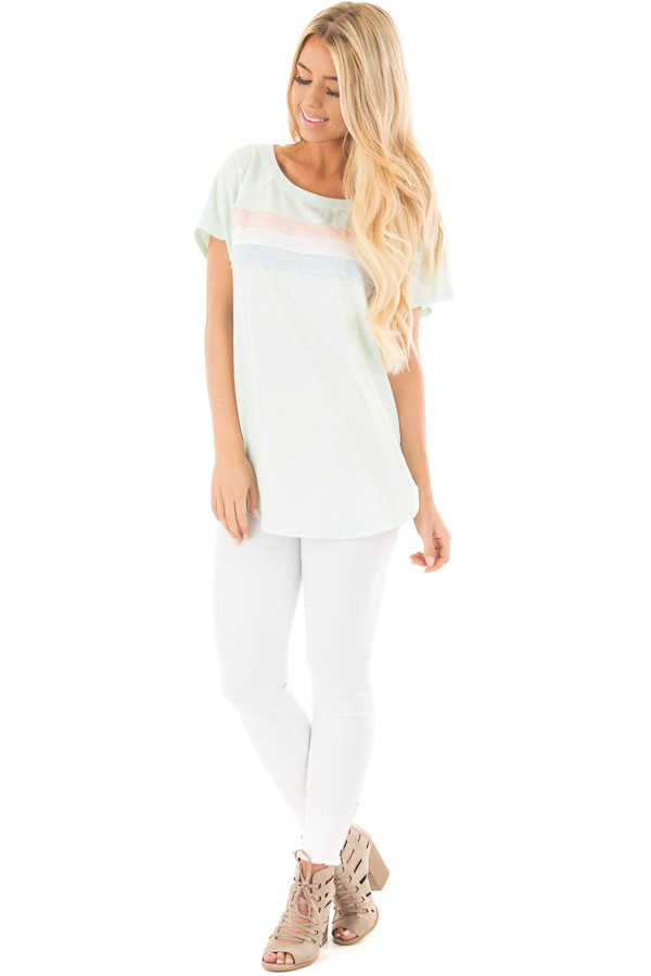 Mint Off Shoulder Top with Contrast Paneling Detail Top front full body