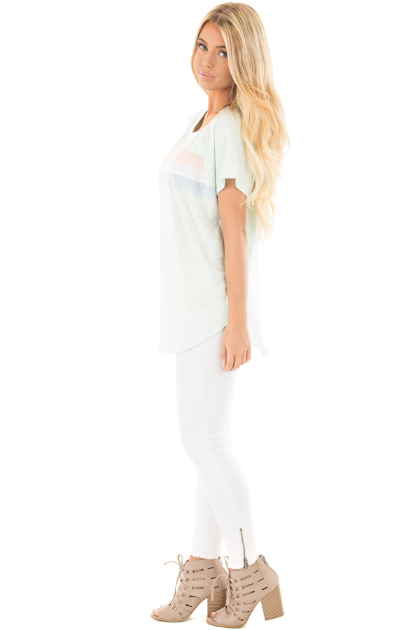 Mint Off Shoulder Top with Contrast Paneling Detail Top side full body