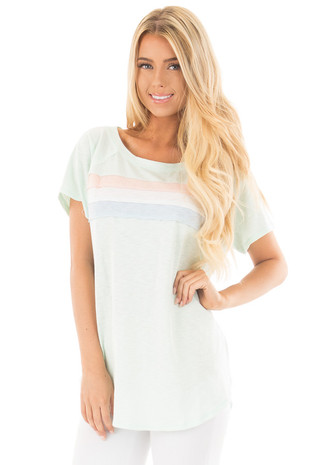 Mint Off Shoulder Top with Contrast Paneling Detail Top front close up