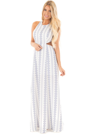White and Navy Patterned Maxi Dress with Tie Back Details front full body