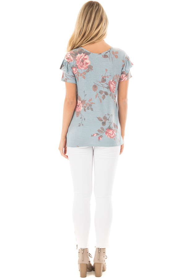 Blue Floral Top with Short Ruffle Sleeve Detail back full body