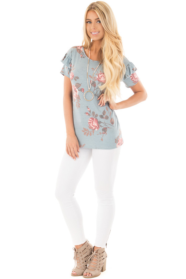 Blue Floral Top with Short Ruffle Sleeve Detail front full body