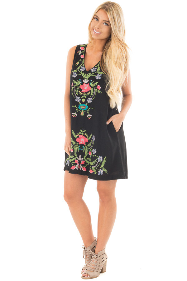 Black Sleeveless V Neck Dress with Floral Embroidered Detail front full body