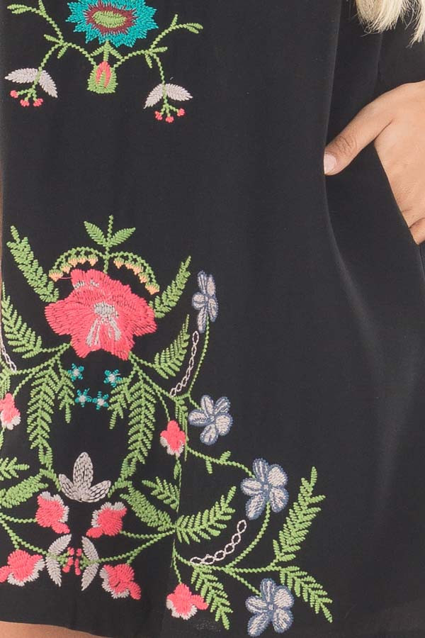 Black Sleeveless V Neck Dress with Floral Embroidered Detail detail