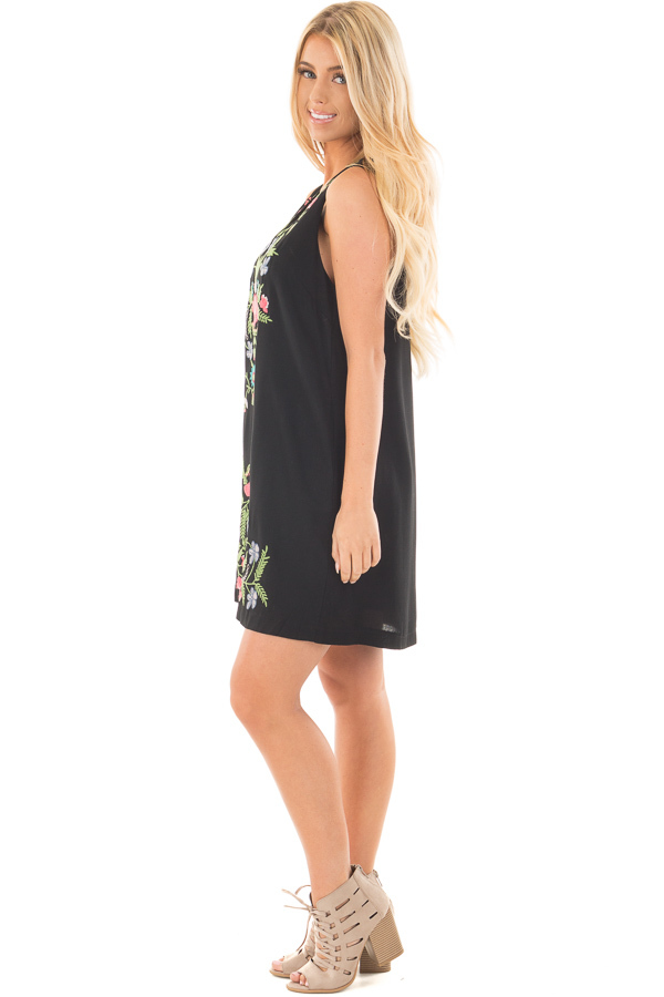 Black Sleeveless V Neck Dress with Floral Embroidered Detail side full body