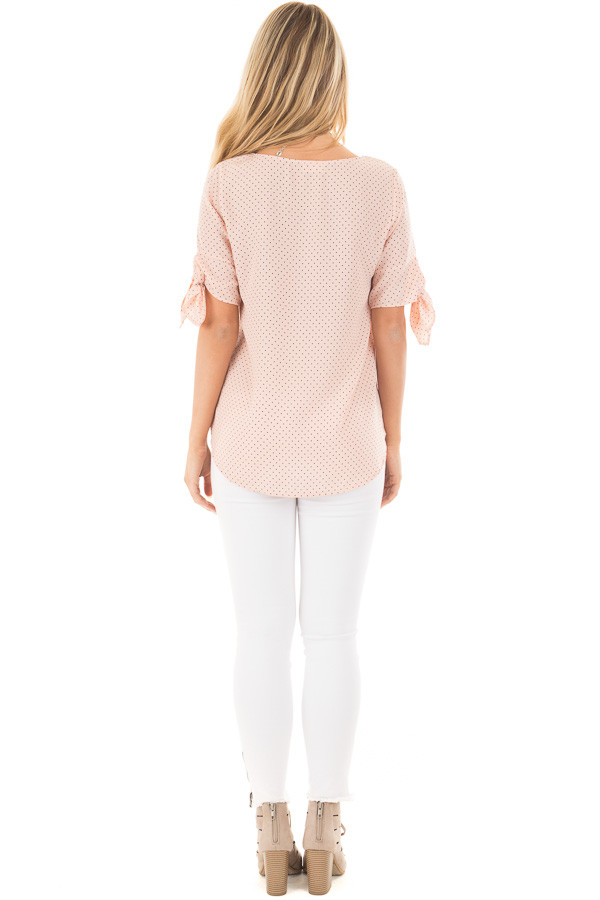 Blush Polka Dot Chiffon Round Neck Top with Tie Sleeves back full body