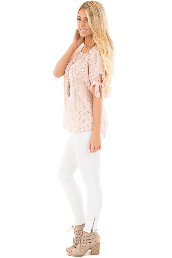 Blush Polka Dot Chiffon Round Neck Top with Tie Sleeves side full body