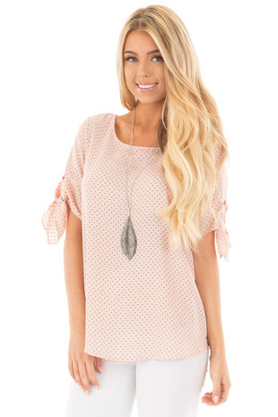 Blush Polka Dot Chiffon Round Neck Top with Tie Sleeves front close up