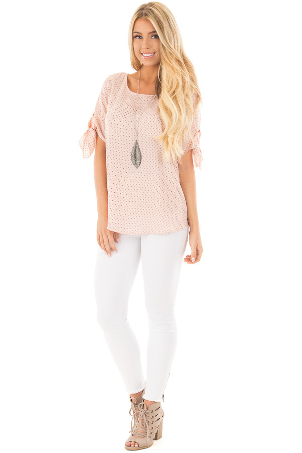 Blush Polka Dot Chiffon Round Neck Top with Tie Sleeves front full body