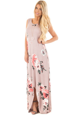 Mauve Floral Print Dress with Criss Cross Back Detail front side full body