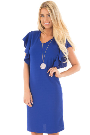 Royal Blue Ruffle Sleeve Dress with Keyhole Back front close up
