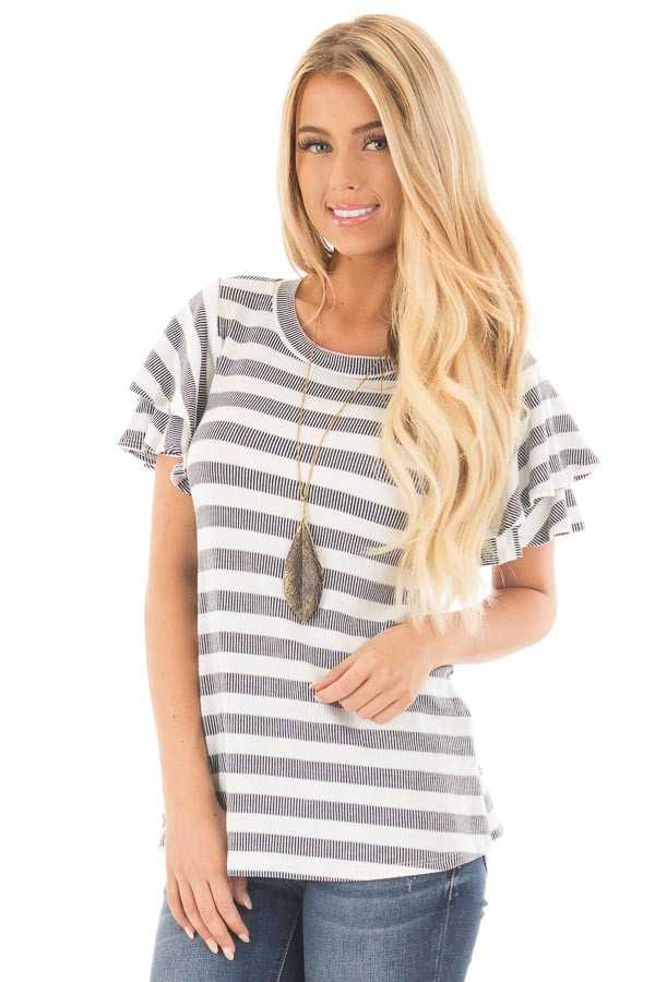 Ivory and Navy Striped Top with Layered Ruffle Sleeves front close up