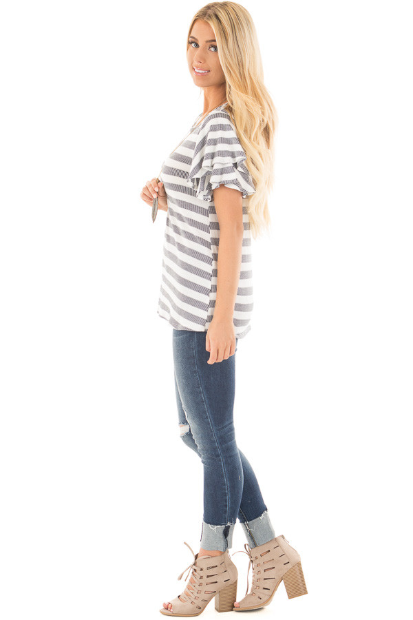 Ivory and Navy Striped Top with Layered Ruffle Sleeves side full body