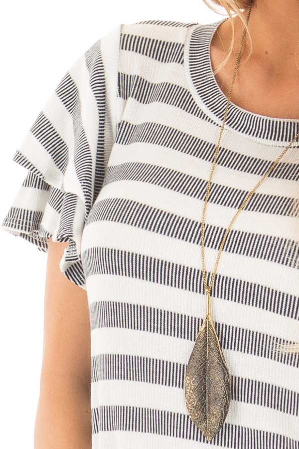 Ivory and Navy Striped Top with Layered Ruffle Sleeves detail