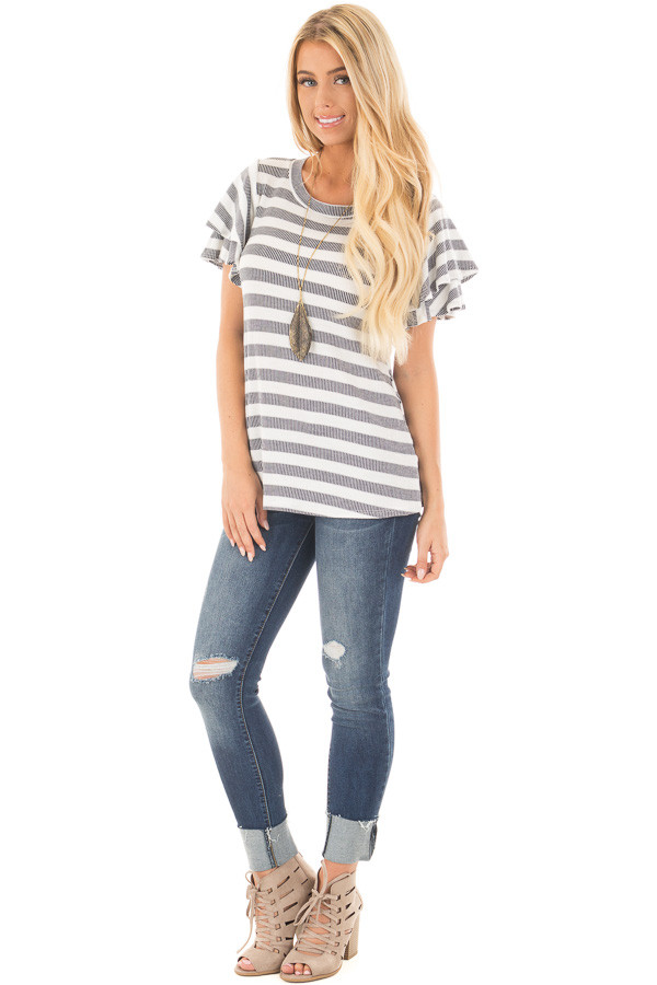 Ivory and Navy Striped Top with Layered Ruffle Sleeves front full body