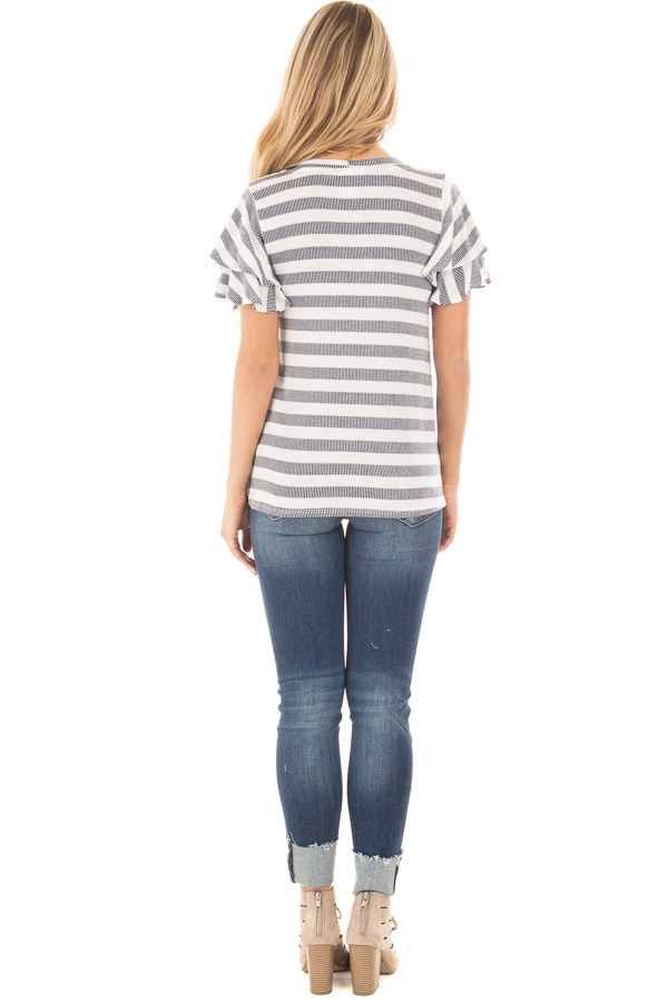 Ivory and Navy Striped Top with Layered Ruffle Sleeves back full body