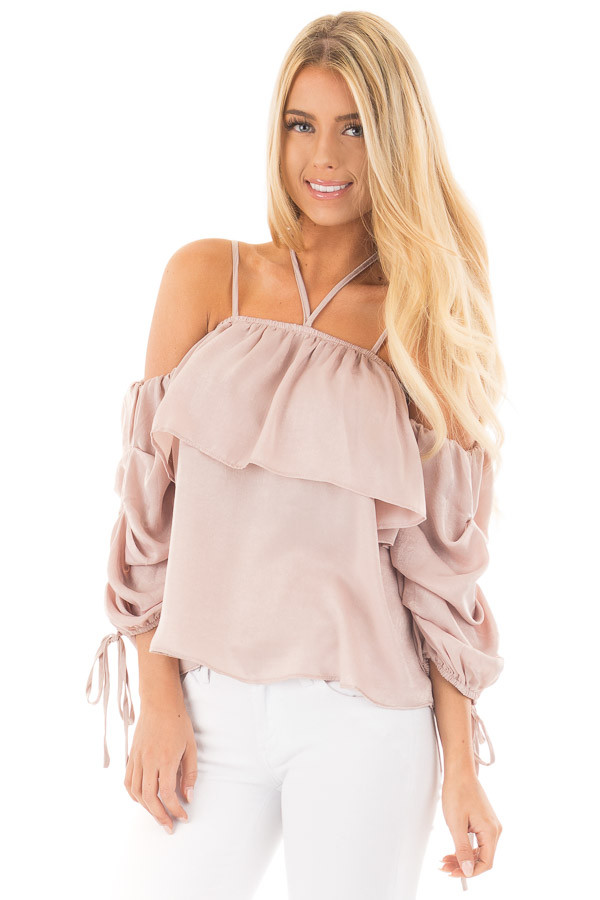 Chalk Pink Off Shoulder Bubble Ruffled Strappy Sleeve Top front close up
