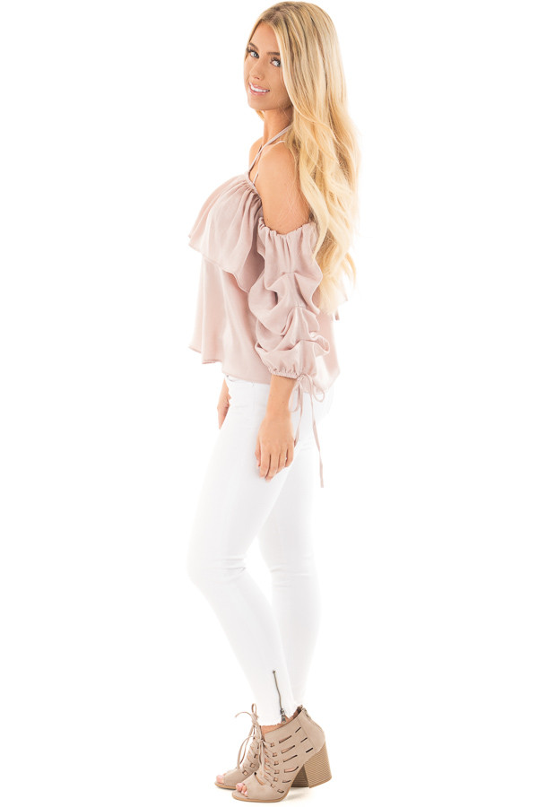 Chalk Pink Off Shoulder Bubble Ruffled Strappy Sleeve Top side full body