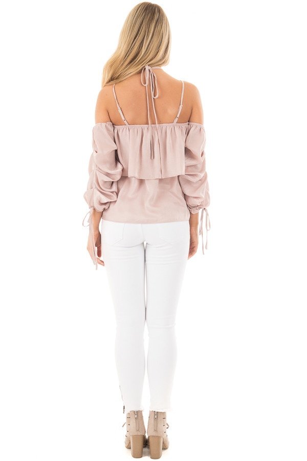 Chalk Pink Off Shoulder Bubble Ruffled Strappy Sleeve Top back full body