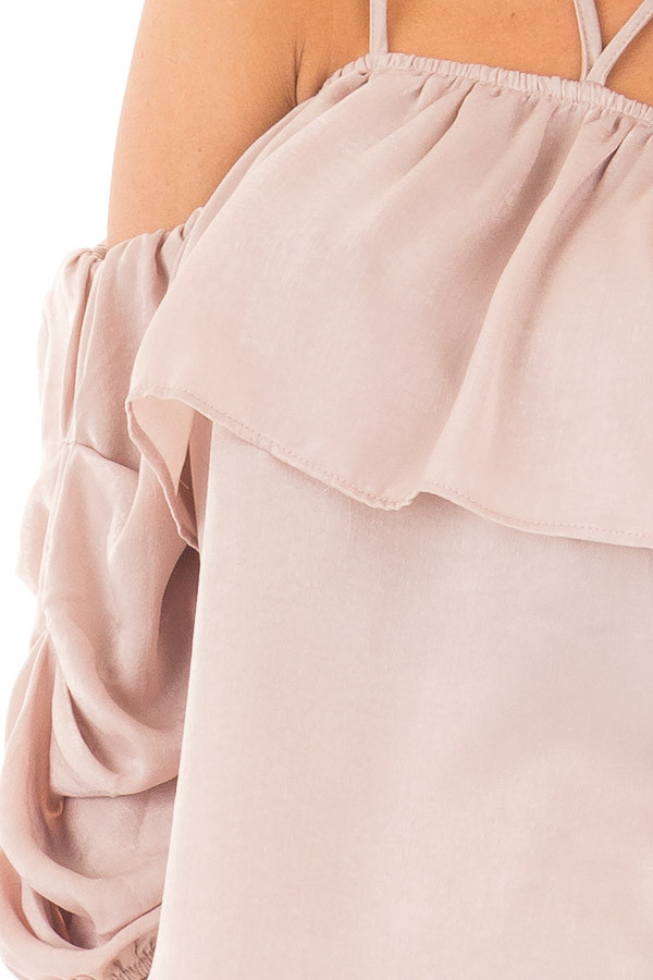Chalk Pink Off Shoulder Bubble Ruffled Strappy Sleeve Top detail