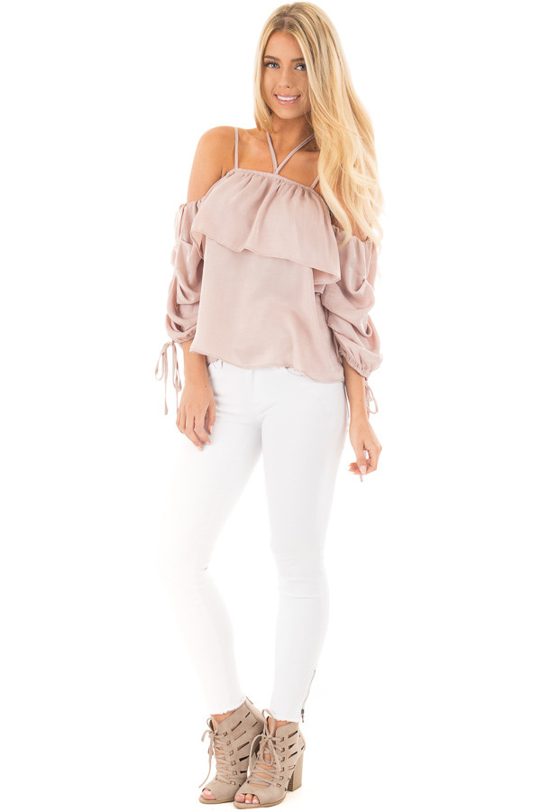 Chalk Pink Off Shoulder Bubble Ruffled Strappy Sleeve Top front full body