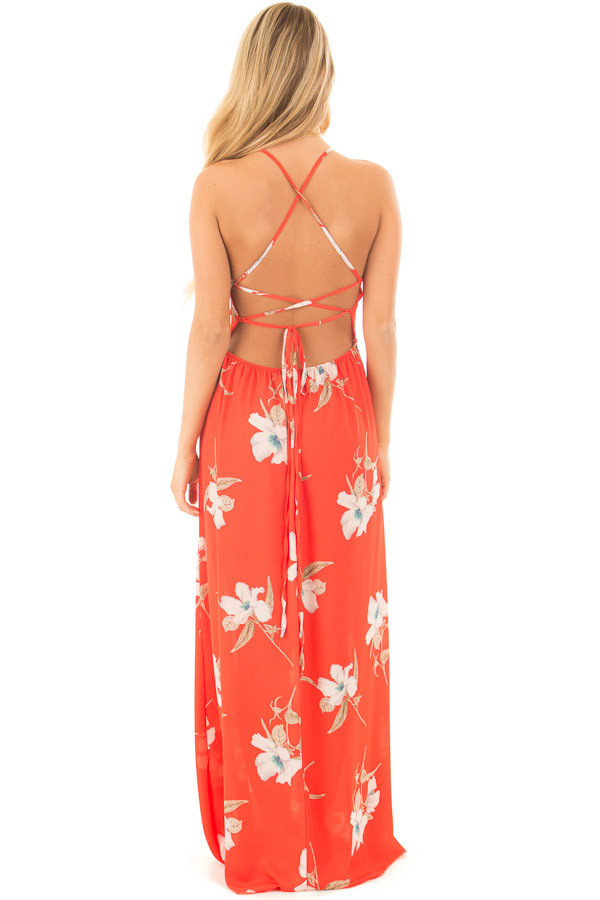 Vermilion Floral Print Halter Maxi Dress with Strappy Open Back back full body