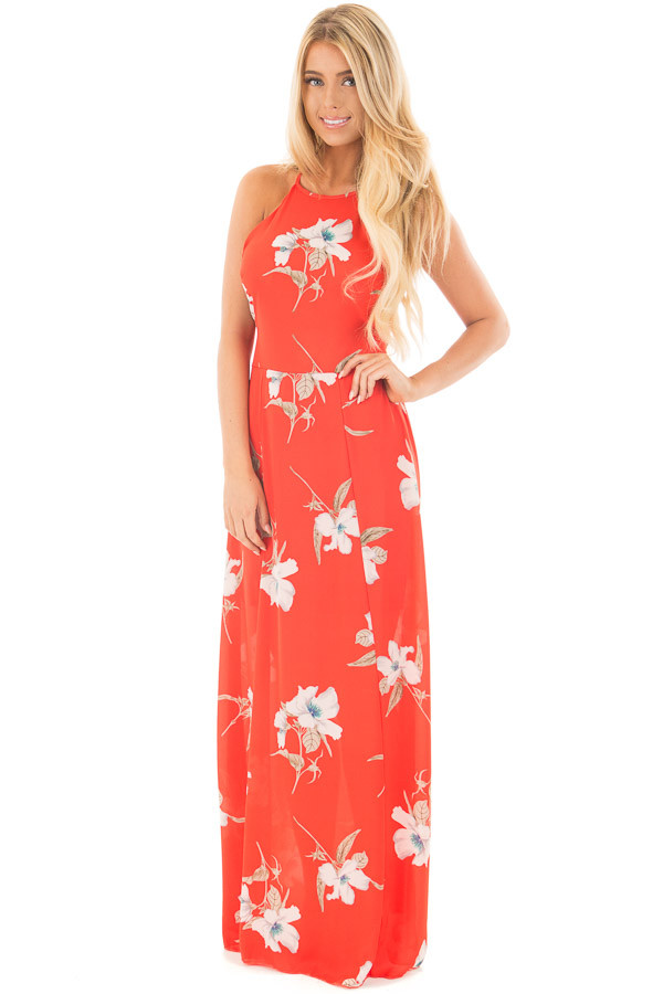 Vermilion Floral Print Halter Maxi Dress with Strappy Open Back front full body