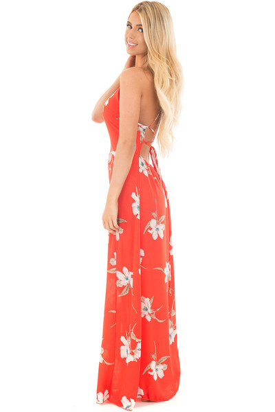 Vermilion Floral Print Halter Maxi Dress with Strappy Open Back side full body