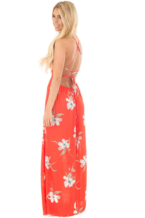 Vermilion Floral Print Halter Maxi Dress with Strappy Open Back back side full body